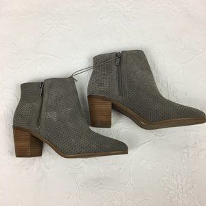 Lucky Brand Grey Suede Perforated Ankle Boots NEW
